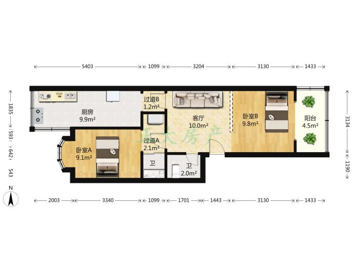 铁路35宿舍 2室1厅 1500.00元