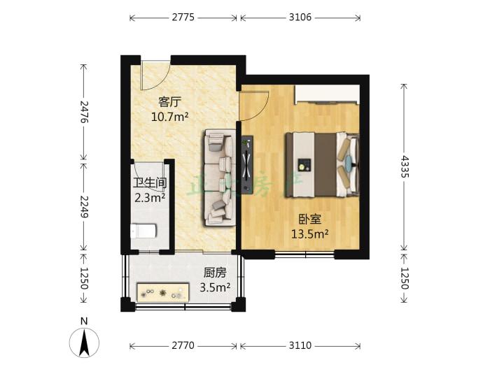 革新中街社区 1室1厅 52.00万