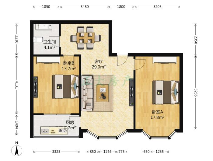 纯粹家园 2室1厅 80.00万