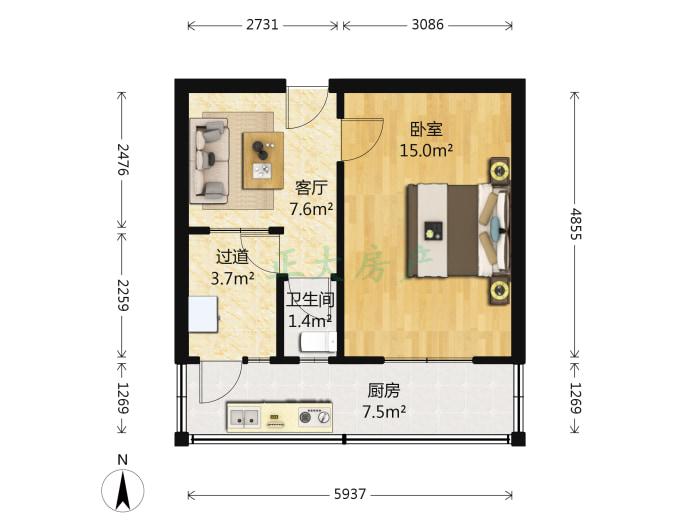 新苑小区 1室1厅 650.00元