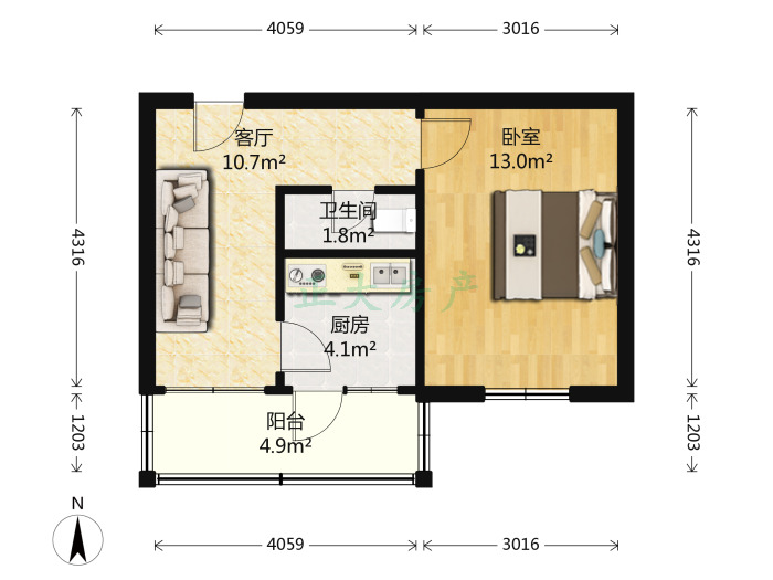 裕华西路176号 1室1厅 78.00万