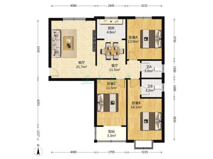 翰林雅筑 3室2厅 178.00万