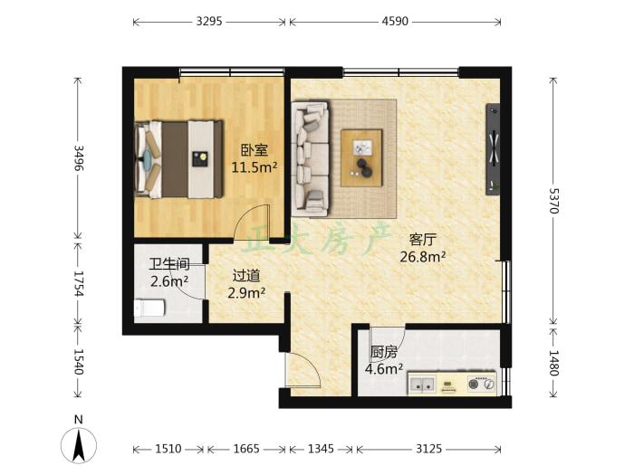 和平大厦 1室1厅 1600.00元