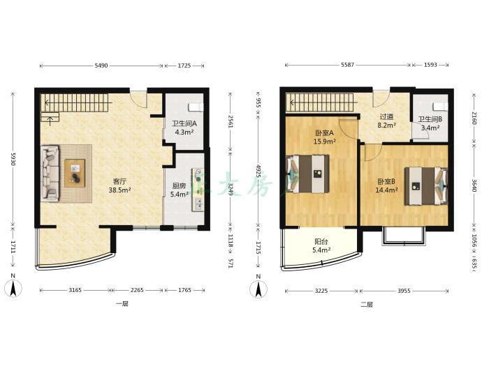 东方观邸 2室2厅 3000.00元