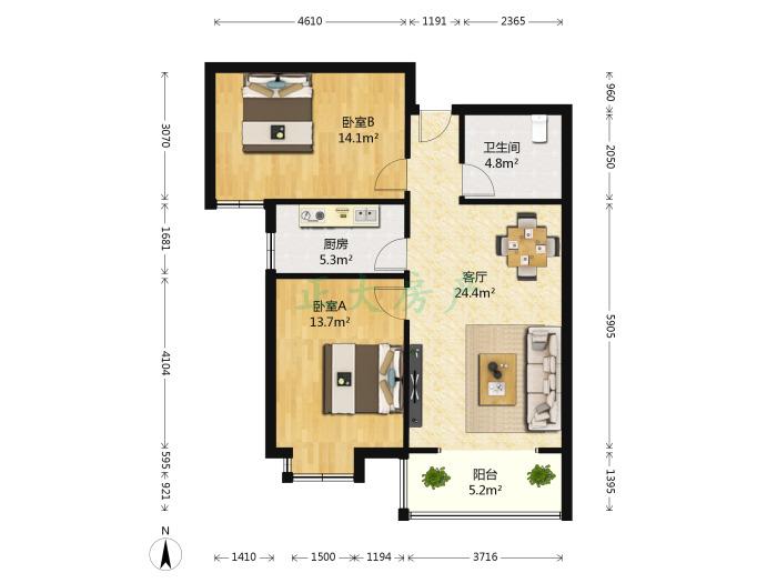 瑞城B区 2室1厅 178.00万