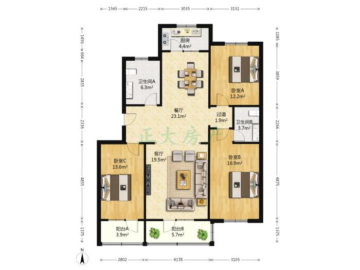 八家庄怡园 3室2厅 193.00万