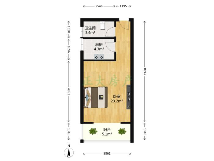 汇龙湾小区 1室1厅 95.00万
