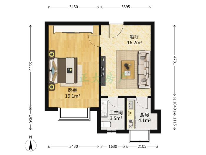 副食二厂宿舍 1室1厅 900.00元