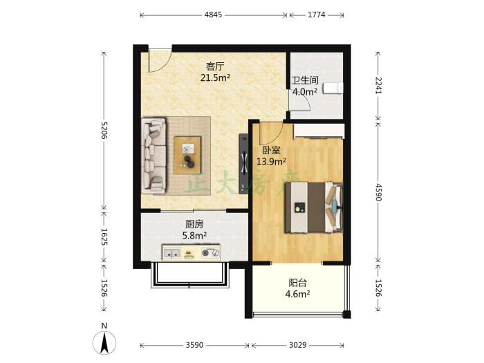 阳光新城 1室1厅 92.00万