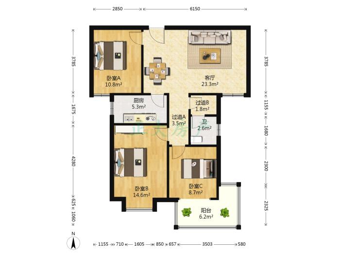香格礼小区 3室2厅 175.00万