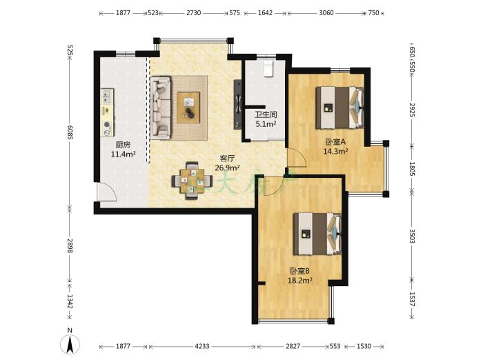 汇翠花园 2室1厅 182.00万