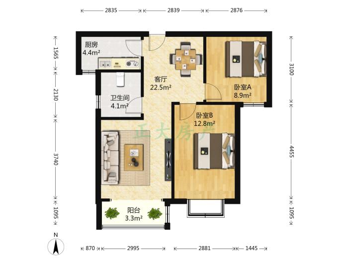 东胜金色里程 2室1厅 149.00万