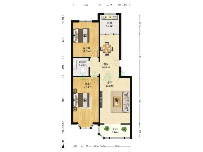 世纪康城 2室2厅 158.00万