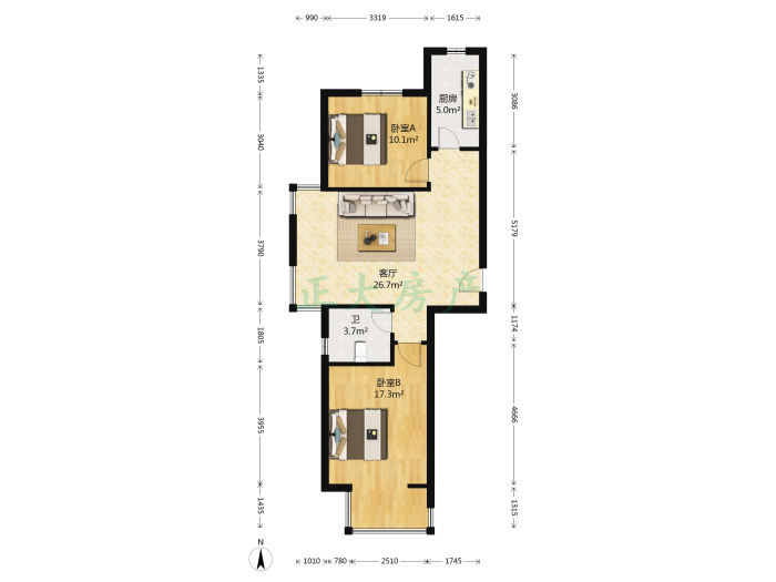 碧水青园 2室1厅 165.00万