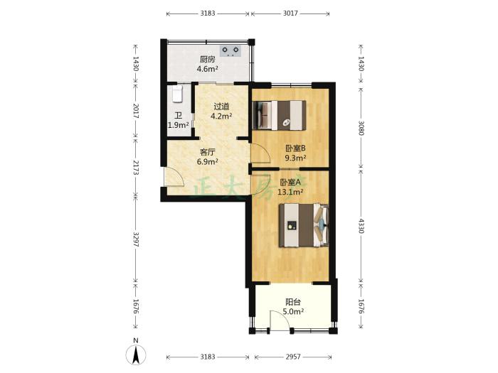 新石小区 2室1厅 90.00万