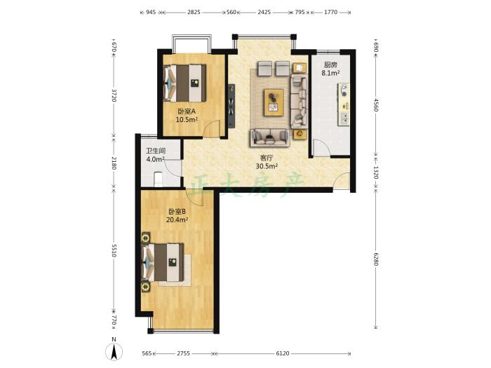 汇翠花园 2室1厅 2800.00元