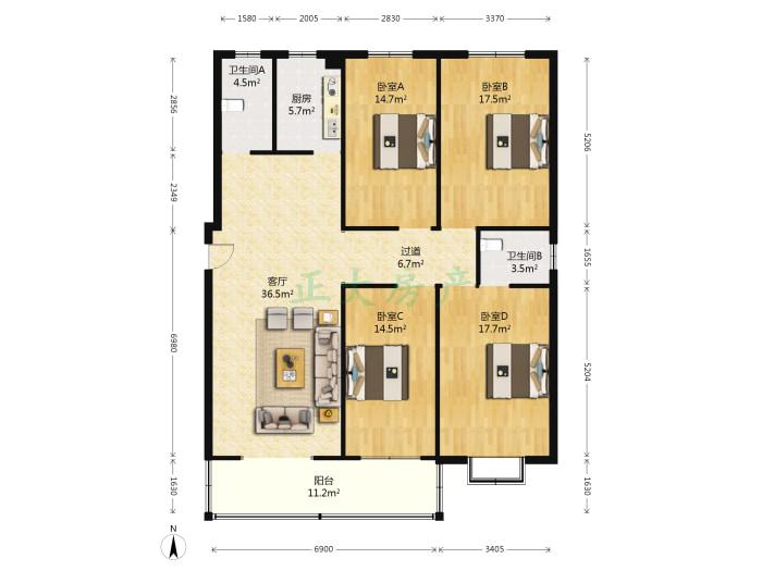 颐和公寓 4室1厅 138.00万
