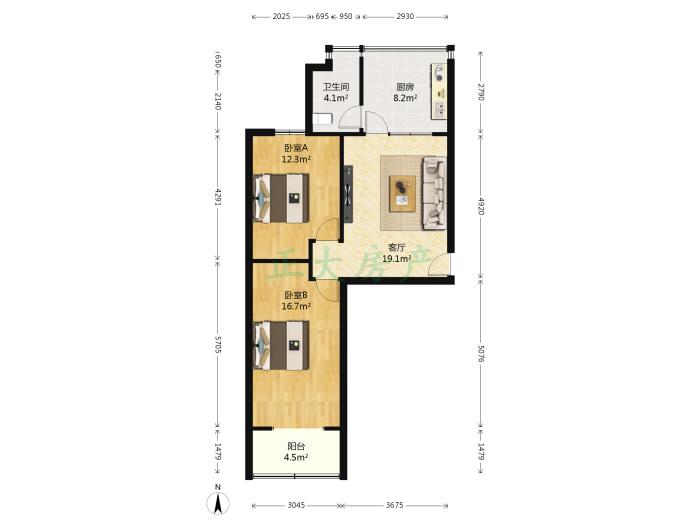 六中宿舍 2室1厅 1600.00元