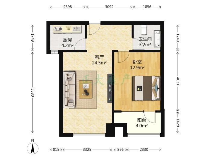 阿尔卡迪亚荣景园 1室1厅 2300.00元