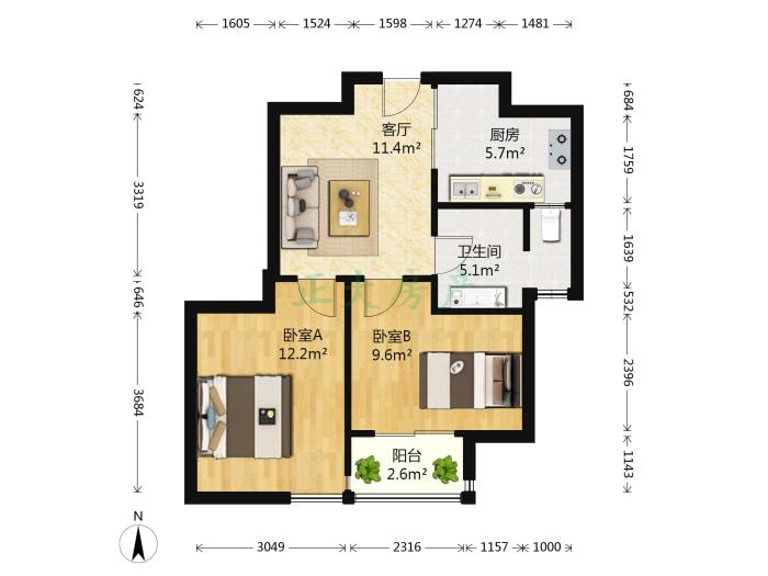 紫晶苑 2室1厅 135.00万