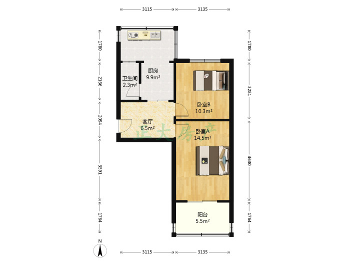 槐中路219号院 2室1厅 1300.00元