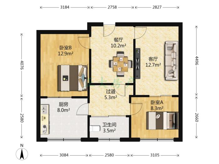 石炼第一生活区 2室2厅 70.00万