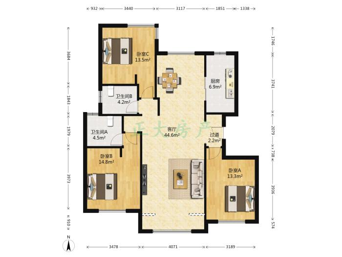 阿尔卡迪亚荣景园 3室1厅 340.00万