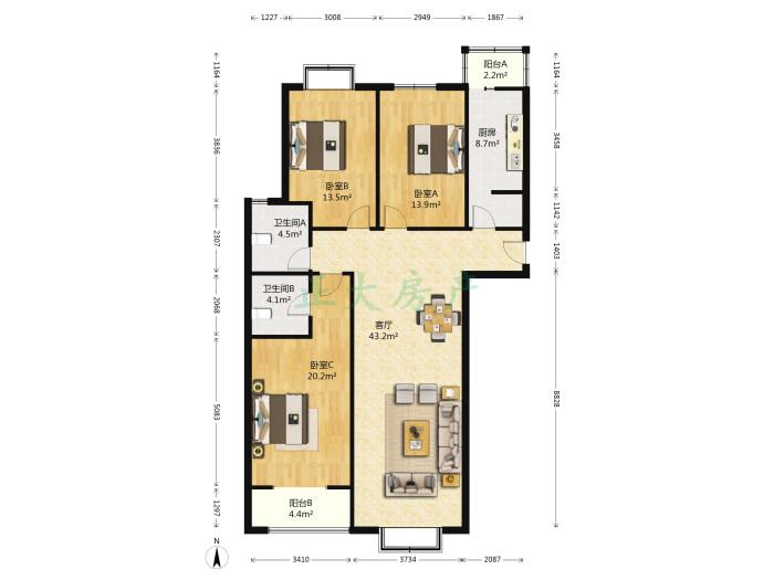 英商家园 3室1厅 255.00万