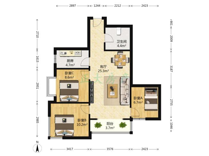 和平时光家园 3室1厅 170.00万