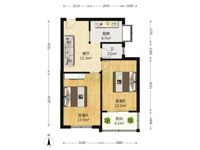 联盟小区西芩园 2室1厅 1200.00元