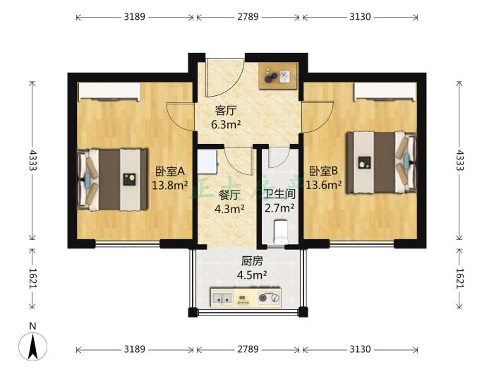 液化气公司宿舍 2室2厅 1200.00元