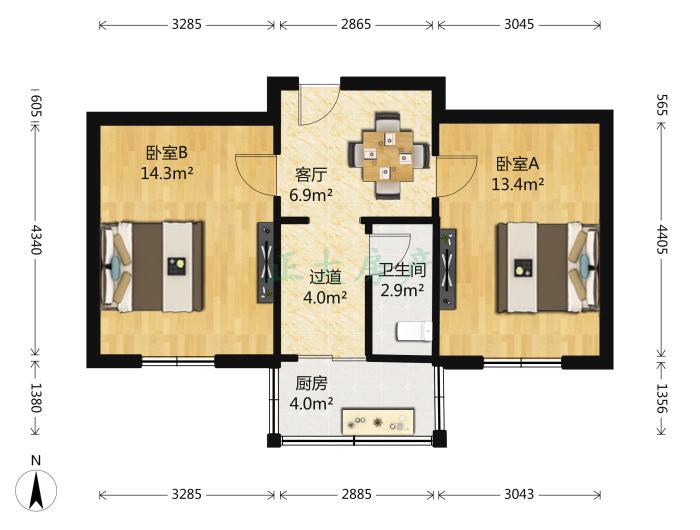 尖岭小区 2室1厅 1300.00元