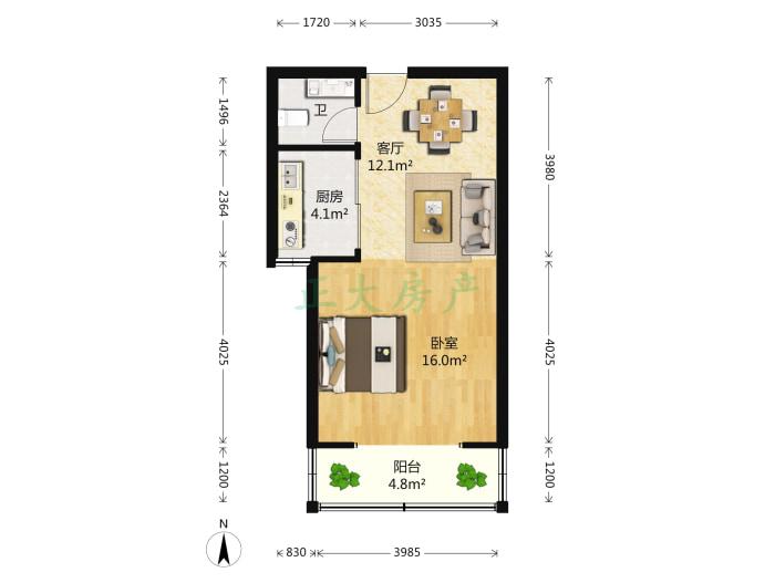 海龙湾 1室1厅 78.00万
