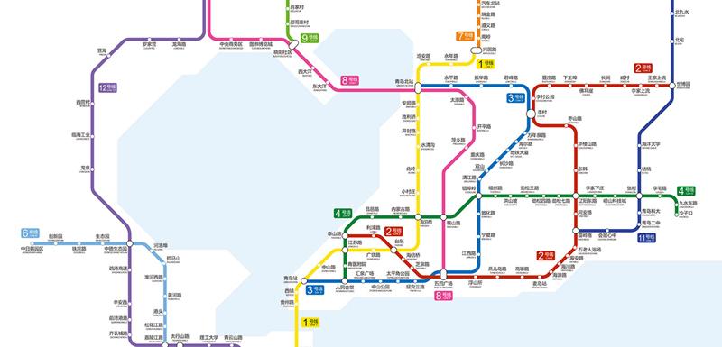 青岛地铁全新换乘线路图
