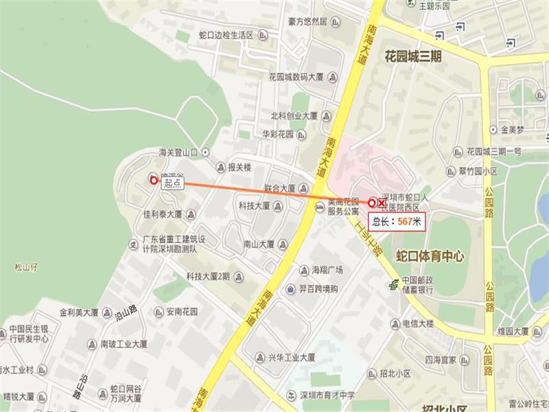 鸣溪谷距离蛇口人民医院567米,步行10分钟