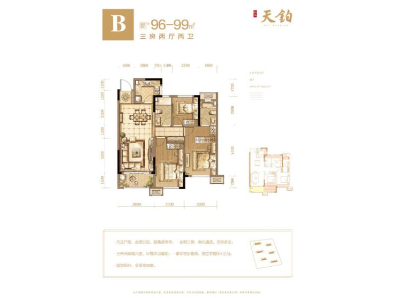 每栋楼的结构都是一样的,一个单元,两梯四户,住宅是板楼设计,带有连廊