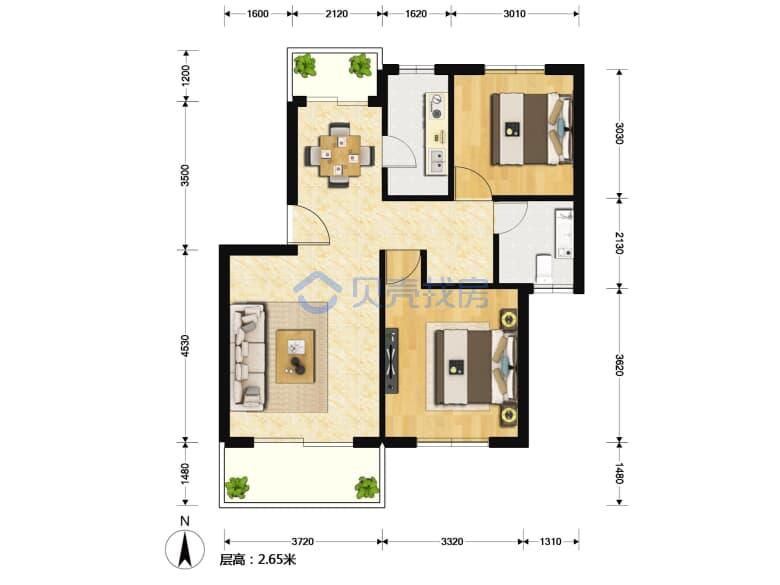 金顺佳苑 2室1厅 84.55平米