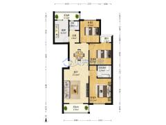 新龙城 南北通透三居室 中高楼层 精装空闲户型图